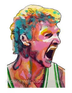 Boston Celtics Larry Bird Painting Reproduction Print 11 x 8.5