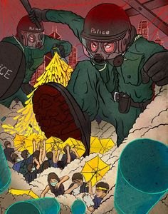 The Umbrella Revolution-Yu-Ming Huang Illustration. You can see different artists capturing view points of protesters.