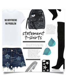 """NO BOYFRIEND, NO PROBLEM"" by sonny-m ❤ liked on Polyvore featuring River Island, Gianvito Rossi, Chiara Ferragni, Bling Jewelry, Boohoo and statementtshirt"