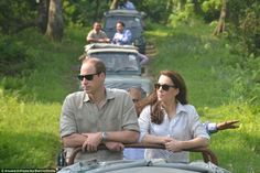 Seeing the sights: The royal couple headed up a convoy of 4x4s as they were taken through ...