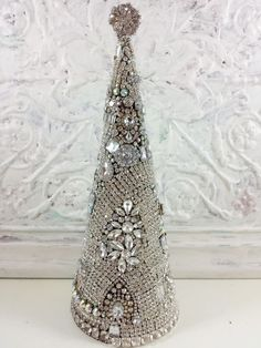 GORGEOUS Vintage Rhinestone Jewelry LARGE Christmas Tree earrings brooch OMG! in Home & Garden, Home Décor, Other Home Décor | eBay