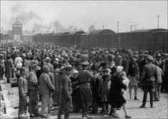 Jews arriving at Auschwitz from Hungary are lined up for selection on the Jewish Ramp. Right for Labor, left for the gas chambers. In late May, 1944. From the Auschwitz
