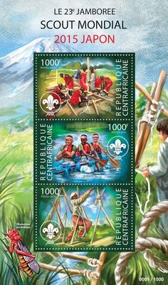 Central African Republic post stamp CA 15305 a23rd World Scout Jamboree 2015 Japan