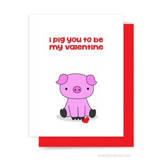 Funny Valentine Card Valentines Day For Boyfriend Husband Girlfriend Wife Pig You Pun Cute Fun Happy Handmade Greeting Cards Gifts Her Him I Pig You To Be My Valentine. This cute and punny pig card is fun way to wish happy Valentines Day to your boyfrien Mia Valentine, Valentines Day For Boyfriend, Valentine Day Special, Funny Valentine, Valentine Day Cards, Happy Valentines Day, Boyfriend Gifts, Boyfriend Girlfriend, Funny Girlfriend