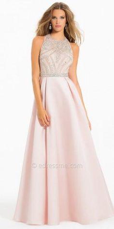 AB beaded Illusion Prom Dress by Camille La Vie  #dress #dresses #fashion #designer #camillelavie #edressme