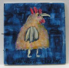 DICKER GOCKEL Nr. 2 von Herbivore11 kleine Kunst Inchie Minibild Hahn Huhn Bild