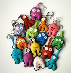 Zany colourful felt monster key-chain, bag tag or mobile phone charm