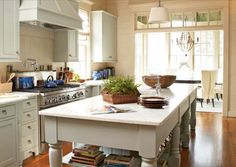 love a substantial kitchen island and this one doesn't disappoint. Pale blue blends beautifully with the white, creating soft appeal. I would love to cook in this cottage kitchen! Old Kitchen, Kitchen Dining, Kitchen Decor, Kitchen Ideas, Kitchen Wood, Kitchen Inspiration, Kitchen Styling, Kitchen Designs, Dining Area