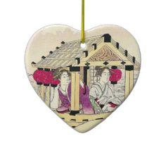 Tomioka Eisen in a pleasure boat japanese  ladies Christmas Tree Ornament #Tomioka #Eisen in a #pleasure #boat #japanese #ladies #vintage #oriental #customizable #gifts and #accessories #Japan #ukiyo-e #hanga #art #classic #custom #lady #woman #kimono #waterscape