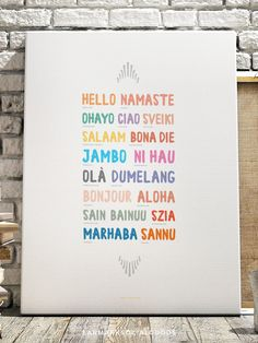 Printable Hello Around the Globe Worldly Art Print by Earmark Social Goods Inc.