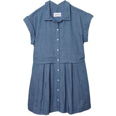 Olive + Oak 1st Day Of School Jumper (385421101) (1,225 MXN) ❤ liked on Polyvore featuring dresses, denim blue, button down dress, blue pleated dress, short-sleeve dresses, cinched waist dress and button up dress