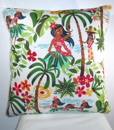 "Brand New Tiki Hula Girls Cushion Cover 16""X16"" | eBay"