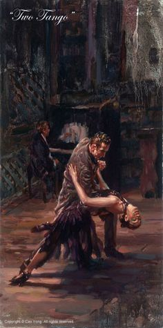 """CAO YONG """"Two Tango"""" LIMITED EDITION H/E CANVAS 24"""" by 12"""""""