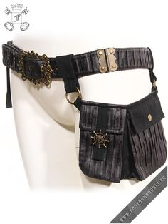 Steamgoth waistbag RQBL-SP076. Steampunk-Gothic style waistbag (belt bag) with 2 pocket (1 of the pockets is removable). | Fantasmagoria.eu - Gothic Fashion boutique