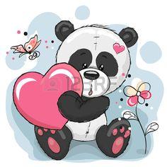 Panda linda con el coraz n flores y mariposas Foto de archivo