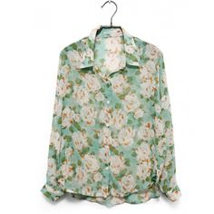Flower top - Nyheter ❤ liked on Polyvore featuring tops, blouses, shirts, blusas, shirts & tops, green shirt, flower blouse, green blouse and flower shirt