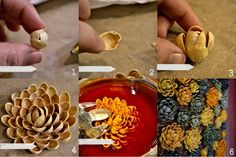 Decorative flowers from pistachio shells Diy Crafts For Home Decor, Diy Arts And Crafts, Crafts For Kids, Handmade Flowers, Diy Flowers, Shell Flowers, Summer Crafts, Fall Crafts, Pista Shell Crafts