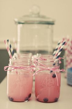 pink lemonade with blueberries (jars out + dispenser)