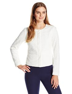 Calvin Klein Womens ButtonFront FloralLace Jacket Soft White 16 ** Want additional info? Click on the image.