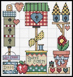 Amor-Perfeito-Amor: gráfico de ponto cruz casa de passarinho