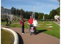 The gardens at Peterhof Palace in St. Petersburg Russia.  Strollers are not allowed inside the palace, so if you baby is not easily totable or your kids have trouble walking in line, skip the interior tour.  The gardens, however, are stroller friendly and gorgeous!