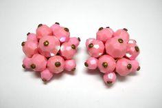 Vintage Austrian Pink Beaded Clip-On Earrings via Etsy