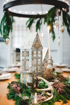 winter wedding DIYs - photo by Izzy Hudgins Photography http://ruffledblog.com/diy-christmas-village-luminaries