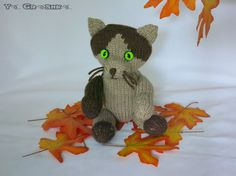 Items similar to Cat Doll Robin/hand knitted cat/collectible decorative cat/knitted toy/decoration/OOAK/brown/Romie the Cat Family/gift/unique on Etsy Knitted Cat, Crochet Animals, Mice, Anastasia, Hand Knitting, Robin, Knit Crochet, Dinosaur Stuffed Animal, Toys