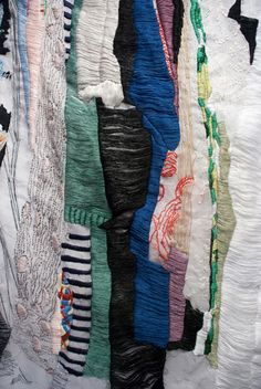 """Alison Watkins -- thread drawings _ """"Hers and His"""" [closet], hand stitching on fabric."""