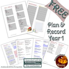 Free 1 Year Download  Print planner for Year One of using the Ambleside Online *FREE* Curriculum.  Enjoy!! :)
