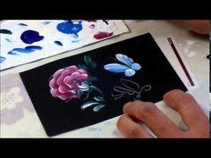 【トールペイント】描き方⑳横バラとちょうちょ Roses and butterfly - YouTube