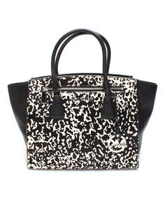 Look what I found on #zulily! Black & White Sophie Large Leather Satchel #zulilyfinds