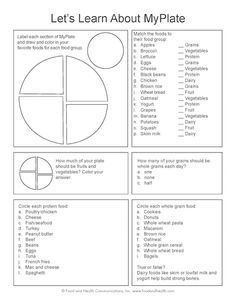 My Plate Worksheet. Great way to interact and teach kids what the different 5 food groups are!