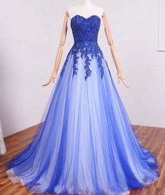 $169.69 Blue Beading Appliques Sweetheart A-line Tulle Prom Dresses 2017products_id:(1000075476 or 1000075245 or 1000074917 or 1000074533 or 1000073444)