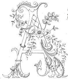 Free Printable Fancy monogram: Link to Antique Pattern