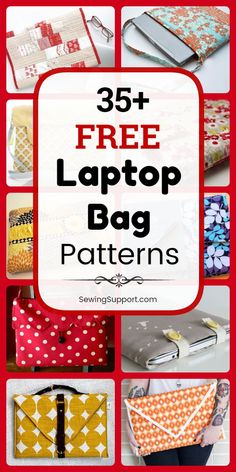 Free Laptop Bag Patterns designs) Bag Patterns to sew. Free Laptop Bag patterns, tutorials, and diy sewing projects. Sew your own fabric sleeve for your laptop computer. Quilted and padded designs, with or without shoulder straps. Bag Sewing Pattern, Bag Pattern Free, Bag Patterns To Sew, Sewing Patterns Free, Free Sewing, Diy Sewing Projects, Sewing Projects For Beginners, Sewing Hacks, Sewing Tutorials