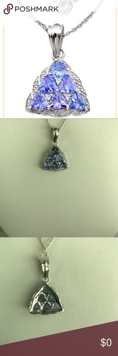 3.56 CT Natural Blue Tanzanite Pendant 3.56 CT Natural Blue Tanzanite Pendant. Six trillion cut stones set in 925 sterling silver. 🌸24J🌸 Weighs 3.67 GRAMS. Jewelry Necklaces