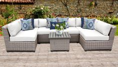 Florence 7 Piece Outdoor Wicker Patio Furniture Set in Sail White - TK Classics Florence Collection creates a warm, inviting and durable seating area that compliments its surroundings with subtle grey and natural hues. Resin Patio Furniture, Outdoor Wicker Patio Furniture, Patio Furniture Cushions, Backyard Furniture, Rustic Furniture, Antique Furniture, Furniture Decor, Office Furniture, Costco Patio Furniture
