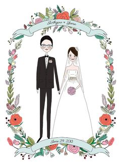 Anniversary Present,Custom wedding Portrait, First year anniversary, Custom… Wedding Illustration, Family Illustration, Portrait Illustration, Couple Portraits, Wedding Portraits, Pet Portraits, Wedding Cards, Wedding Gifts, Wedding Invitations