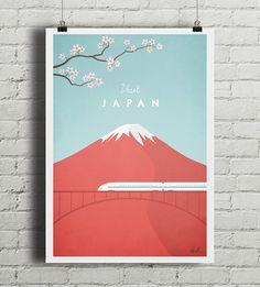Autorski plakat w stylu vintage przedstawiający symbol Japonii, górę Fuji, z…