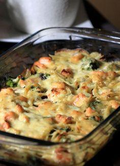 Gratin brocolis saumon
