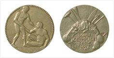 Paris, France 1924 Summer Olympics Medals.  In the spirit of sportsmanship, the front features an athlete helping his rival to rise. The back has sports equipment and a harp – a nod to the Cultural Olympiad.