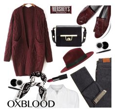 """""""oxblood cardigan"""" by paculi on Polyvore featuring Equipment, Moschino, NARS Cosmetics, Mary Kay and Hershey's"""