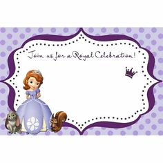 Sofia the First - blank for you to fill in. Use for invitation, thank-you card, and more.
