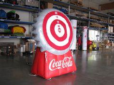 """Action Games Sonderform """"Kronkorken Dart Coca Cola"""" ... Anfertigung aufblasbarer Spiele nach Kundenwunsch. Coca Cola, Bottle Caps, Games, Coke, Cola"""