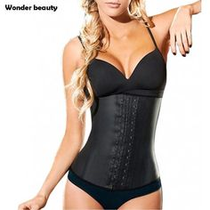 abf347069b2 Latex Waist Trainer Corset Plus Size Steel Bone Workout Waist Cincher Women  Slim Body Shaper Girdles