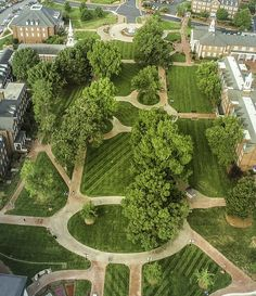 """An aerial view of the """"promenade"""", a network of walkways at High Point University in North Carolina made with Pine Hall Brick pavers."""