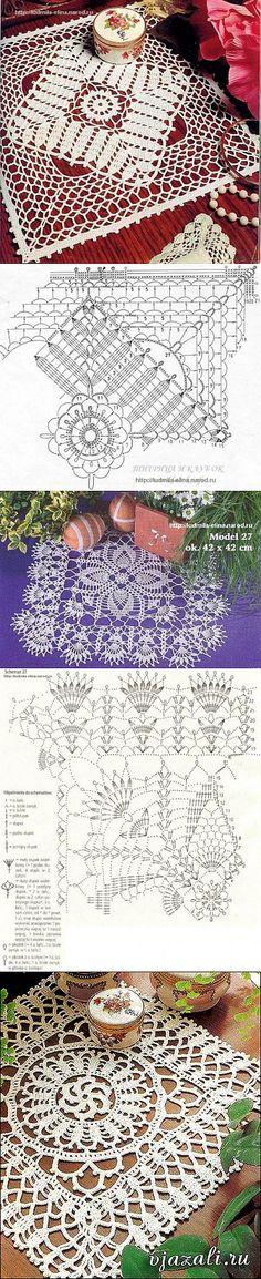 Прямоугольные салфетки крючком - подборка   Вязание крючком и спицами