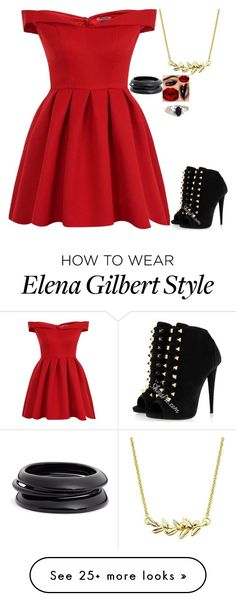 """party with Elena Gilbert (the vampire diaries)"" by j-j-fandoms on Polyvore featuring Chi Chi and ZENZii"