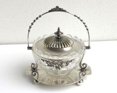 Antique Victorian cut crystal bowl with silver plated lid in decorative silver plated holder, Pinder Bros, Sheffield, England, late 1800s by CardCurios on Etsy